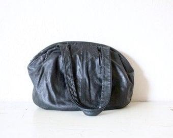 Vintage Oversized Black Leather Handbag