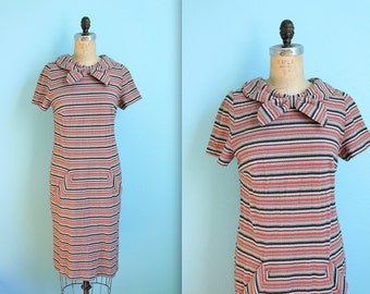 vintage midcentury shift dress / bow collar / chevron striped / orange black grey white / womens size small
