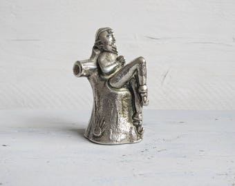 Metal Silver Tone Leprechaun Sitting on a Tree Stump Candle Snuffer - Leprechaun