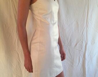 Vintage White Leather Bodycon Dress
