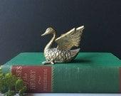 Vintage Brass Duck Figurine, Mid Century Home, Nursery Decor, Brass Bird, Hollywood Regency, Gift for Baby Shower Vintage Brass, Paperweight