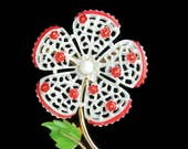50s Jewelry: Earrings, Necklace, Brooch, Bracelet Flower Brooch White Red Enamel Pin Floral Jewelry Spring Flower Pins Lapel Pins Jewelry 1950s  Brooches Broooch Scarf Holder $28.50 AT vintagedancer.com