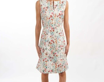 Floral Print Sleeveless Dress with Neckline Opening - Lined