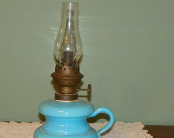 Antique Miniature Mini Victorian OIL LAMP LANTERN Finger Art Glass Blue delphite milk