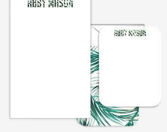 Palm Personalized Stationery Set -- Tropical Gifts for a friend