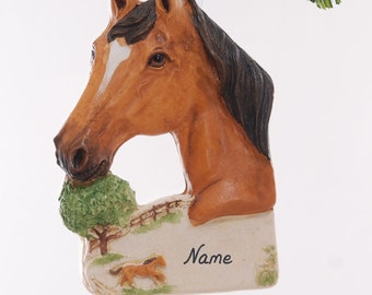 Horse Christmas ornament - beautiful buckskin horse ornament personalized with name or phrase of your choice - handmade in the USA (144)