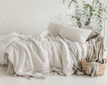"""Cal King Pure Linen Bed Duvet Cover White W.106"""" x L.96"""" Stonewashed - Custom size- Custom size"""