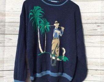 Vintage Men's Sweater Gant SALTY DOG Golfer Palm Tree Print Size Large 90s Ugly Retro Hand Intarsia Cotton