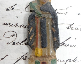 Antique Miniature Santos Hand,Carved, Hand Painted Alabaster,  Religious Latin American Folk Art