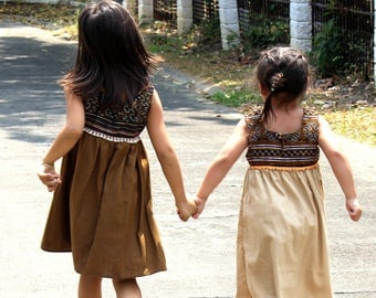 Little Girls Hmong Dress, Ethnic Embroidery On Natural Cotton In Earthy Colors, Boho Girls - Tessa, FREE Worldwide Shipping