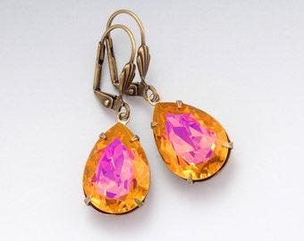 Pink and Orange Swarovski Crystal Earrings, Pink Crystal Jewelry, Orange Pink Rhinestone Earrings, Brass Leverback Earrings Dangle, Delma