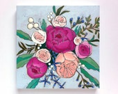 Peonies roses floral bouquet painting - A Bouquet for Molly