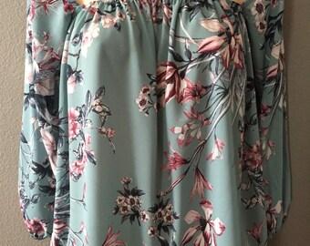 Off shoulder top, bare shoulder top, long sleeve top, Womens Seafoam Floral Off Shoulder Top, spring floral top, strapless off shoulder top