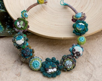 Statement rustic necklace, unique fiber jewelry, crochet with fabric buttons, brown teal chartreuse, OOAK