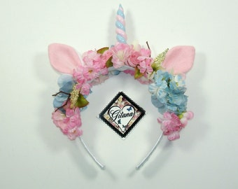 Unicorn Headband-Flower Headband-Floral Crown-Whimsical-Bohemian-Lolita-Boho-Fairy Crown-Bridal Crown-Harajuku-Fairy Kei-Festivals-Girl