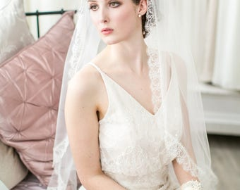 Grace Chantilly Lace Wedding Veil, Ivory or White, in all lengths including elbow, fingertip, floor, chapel and cathedral
