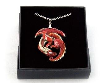 Vizzerdrix the Red Guardian Pewter Dragon Pendant