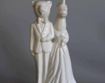 Bear and Unicorn Wedding Cake Topper Handmade