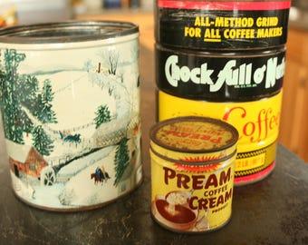 Vintage Coffee, Cream, & Winter Scene Tins, Vintage, Collectible, Antique, Chock Full O Nuts Coffee Tin, Pream Coffee Cream Tin