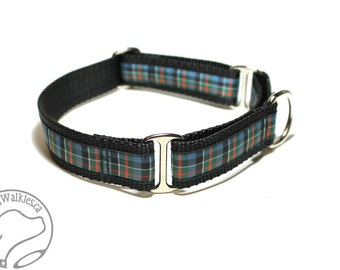 "Colquhoun (Ancient) Tartan Dog Collar - 1"" (25mm) Wide - Martingale or Side Release -Choice of collar style and size // Blue // Green // Red"
