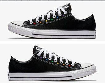 Converse Hand Painted Gay Pride with Rainbow Polka Dots