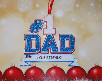 Personalized #1 Dad Ornament