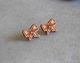 Wooden Bow Stud Earrings : Laser Cut Posts