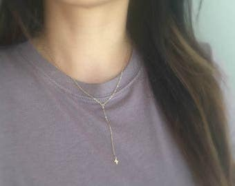 Gold Cross Necklace | Rosary Necklace | Y necklace | Layering Necklace | Minimal Necklace | Simple Necklace | Gift For Her | Cross Necklace