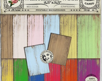 """Printable Weathered WOOD 2,5""""x3,5"""" Backgrounds Pastel Shades Digital Collage Sheet Printable Download Worn Woodgrain Texture Atc Aceo c33"""