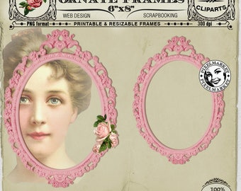 PICTURE FRAME CLIPARTS Printable Download for Photographer Scrapbooking Cardmaking Web Blog Design Pink Oval Photo Frame Die Papercraft Fr13