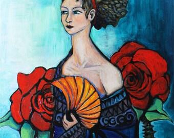 Fan/ 8x10 Print/ Portrait With Roses/ Fantasy Portrait/ Art