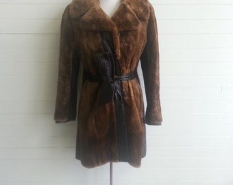 SALE Vintage 1960s fur and leather coat size small . 60s Mod coat