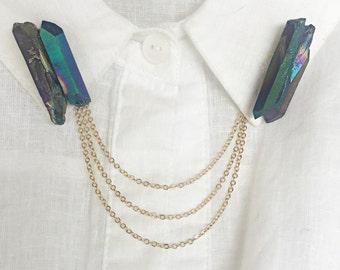 titanium quartz collar pins, crystal lapel pins, collar chain, collar brooch, lapel pin, quartz pin, quartz brooch, crystal brooch