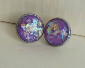 Purple Gold Flaked Studs. Gold Leaf Flake and Opal Flake Earrings. 12 mm. Everyday Earring. Gift for Her. Bridesmaid Earrings.
