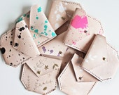 Veg Tanned Leather Pouch - Floral or Splatter Print