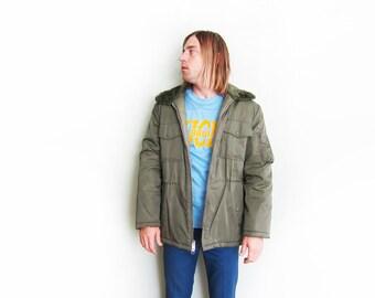 vintage jacket / army jacket / fur collar / 1970s Sears work wear green padded army jacket Large