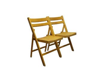 Vintage Slat Wood Folding Chairs Antique Mission Wedding Church Chairs