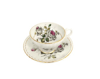 Vintage Red and Gray Roses Footed Teacup and Saucer Stanley Fine Bone China Made in England English Tea Cup Burgundy Gray Rose