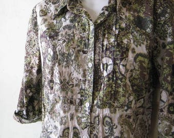 Brown/Chartreuse/Green Print Cotton 1960s Top; Small; Short Sleeves~Batik-Style '60s Casual Cotton Blouse; Free Shipping/U.S.