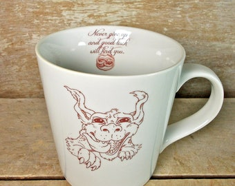 Mug with Luck Dragon, Neverending Story, Never Give Up Luck Will Find You Tea Cup Teacup Mug, Cute 18 oz Porcelain Coffee Cup, Big, Large