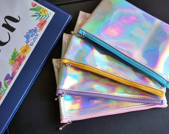Rainbow coin purse, small coin purse , hologram purse, hologram wallet, holographic zipper bag, small change purse, small wallet,  unique