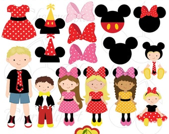 Mickey and Minnie costumes party digital clip art set for -Personal and Commercial Use-paper crafts,card making,scrapbooking,web design