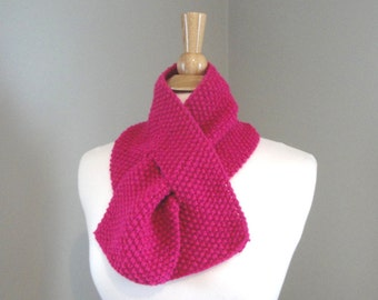 Bright Pink Neck Scarf, Keyhole Pull Through, Hand Knit, Office Scarf, Neck Warmer, Acrylic Wool Blend