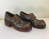 RESERVED     Vintage Platform Shoes, Mens Vintage Shoes, Vintage Oxford Shoes, Mens Clogs, Disco Shoes, Boogie Shoes
