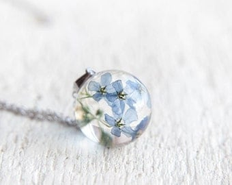 SALE - Siberian bugloss or Great forget-me-not necklace - Blue Flowers Necklace - dried Siberian bugloss - Brunnera macrophylla