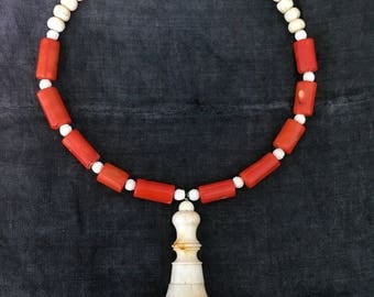 Light me On - Necklace. Antique switch, red coral, hand carved, vintage assembled, antique reconstructed