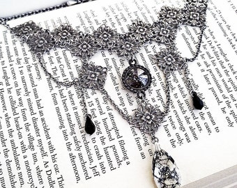 Swarovski Choker Black Gothic Choker Necklace Gothic Bridal Necklace Swarovski Crystal Necklace Victorian Gothic Jewelry Black Choker