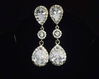 White Crystal Bridal Earrings Silver Cubic Zirconia Earrings Statement Wedding Jewelry Teardrop Earrings Bridal Jewelry Wedding Earrings
