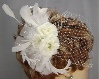 White Bridal Set, 3 Rose Comb , 9 Inch  Pearl Bandeau, Bridal Veil Set, REX2002