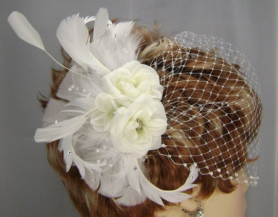 White Bridal Set, 3 Rose Comb , 9 Inch  Pearl Bandeau, Bridal Veil Set, REX2002